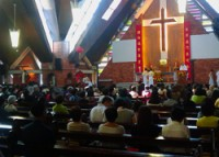 The congregation during the Holy Mass