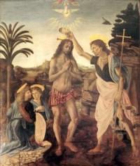 Le baptême du Christ, par Léonard de Vinci