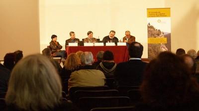 Mesa redonda durante la IV Jornada Caminos de Libertad, celebrada el pasado día 13 en la Seu de Urgell