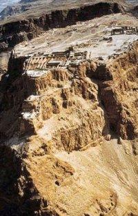 Masada aan de Dode Zee in Israël, een fort dat in 66 na Chr werd ingenomen door de Romeinen.