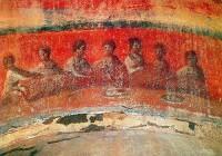 Fresque paléochrétienne représentant la dernière Cène