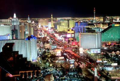 Uma imagem de Las Vegas, a cidade do lazer.