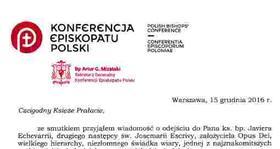 List bp. Artura Mizińskiego Sekretarza Generalnego KEP