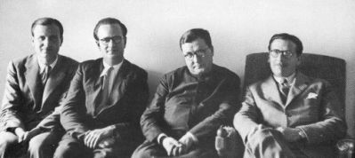 The first three priests ordained for Opus Dei with St. Josemaria a few days before their ordination in 1944. Left to right: Jose Luis Muzquiz (Father Joseph), José María Hernández Garnica and Alvaro del Portillo.