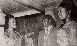 Tom and Pamela Mboya (right) on a visit to the college in an undated picture