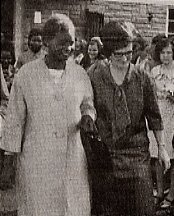 Mama Ngina Kenyatta is shown around the college on a visit in the 70s