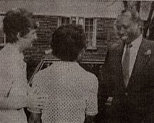Retired President Moi is introduced to a member of staff at the college in 1981