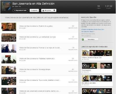 La lista de reproducción de 'San Josemaría en alta definición' contiene 63 vídeos