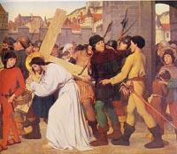 Simão de Cirene ajuda Jesus a carregar a cruz