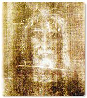 Detalle del rostro de la sábana santa.