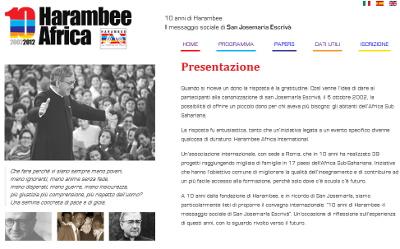 Website speciale della giornata '10 anni di Harambee'.