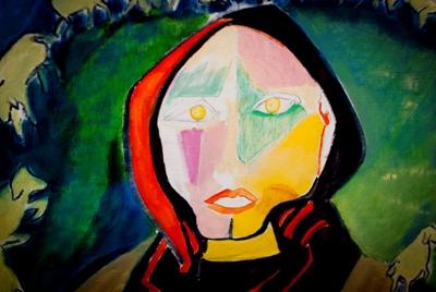 """Uno de los cuadros de la colección inspirada en este verso de El cantar de los cantares """"Tú… la más hermosa de las mujeres, sal y camina tras el rastro de las ovejas, y lleva a pastar tus cabrillas"""""""