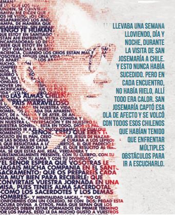 """Un retrato de San Josemaría a partir de  frases que pronunció en Chile, publicado en la hoja informativa """"San Josemaría hoy"""""""