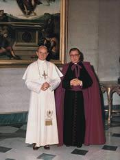 VI Pál Pápa és Szent Josemaría Escrivá. Vatikán, 1964.X.10.