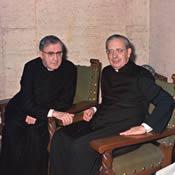 Den hellige Josemaria Escrivá og biskop Álvaro del Portillo i Villa Sachetti, Rom (Italien). 8-I-1974.