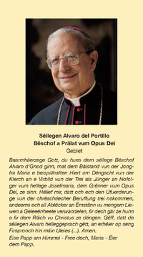 La prière au Bienheureux Alvaro del Portillo en luxembourgeois