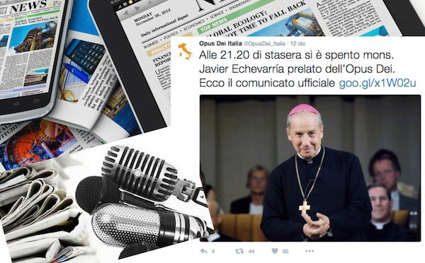 Opus Dei - La morte del Prelato dell'Opus Dei sui media