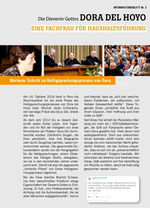Opus Dei - Dora del Hoyo - neues Informationsblatt über die Dienerin Gottes