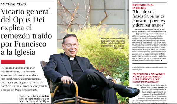 Entrevista a Mariano Fazio, vicario general del Opus Dei en diario El Mercurio