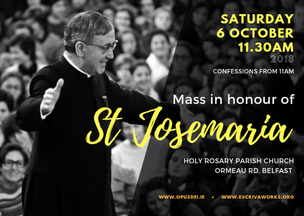 Masses in Belfast and in Knock to mark Feast Day of St Josemaría