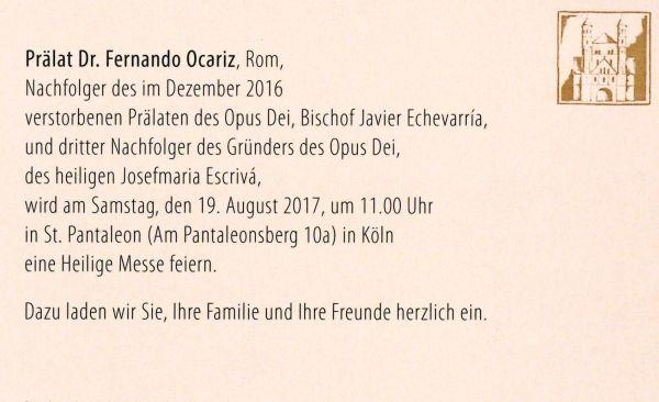 Opus Dei - Heilige Messe mit Prälat Fernando Ocariz in St. Pantaleon - Köln