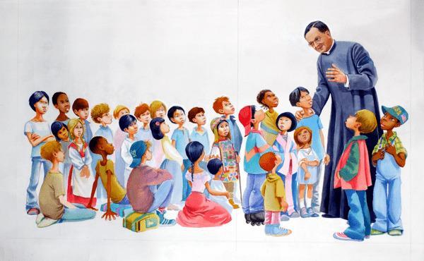 Estampa de San Josemaría para niños