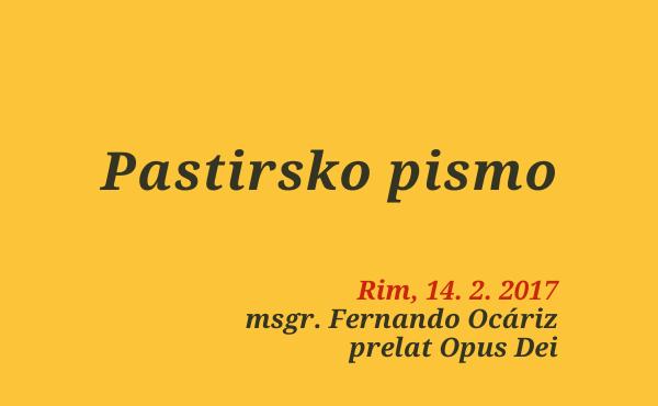 Opus Dei - Prelatovo pismo (14. februar 2017)