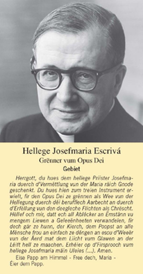 Prière à Saint Josémaria en luxembourgeois
