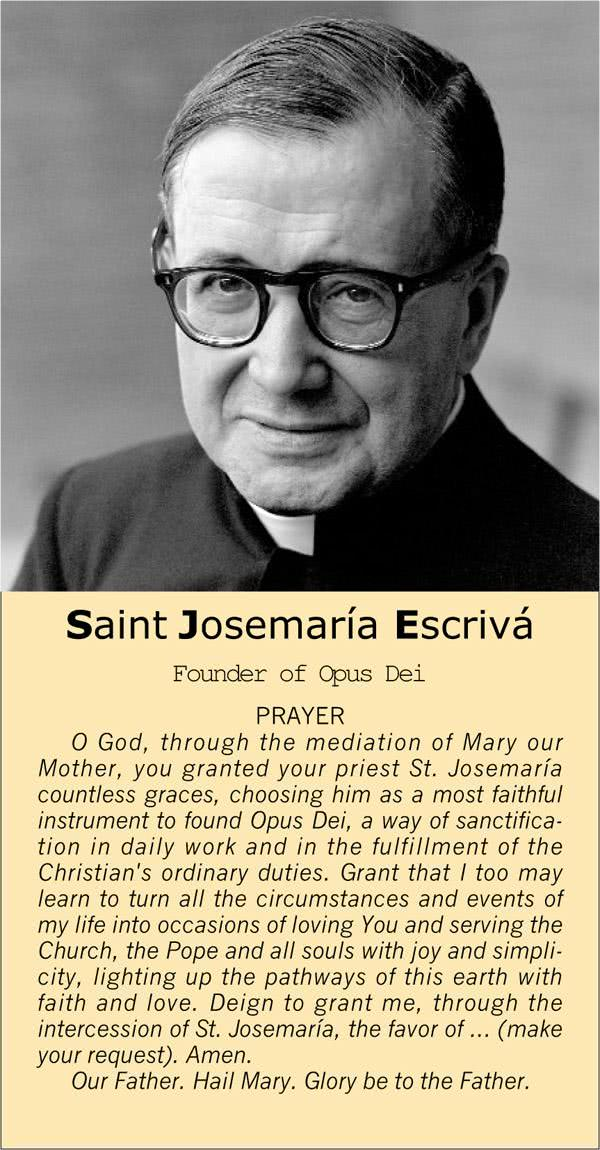 Opus Dei - Prayer to Saint Josemaría