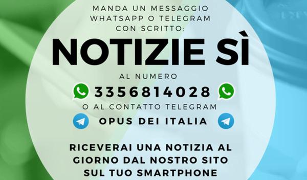 """Opus Dei - Whatsapp e Telegram dal sito Opus Dei: """"Una notizia al giorno"""""""