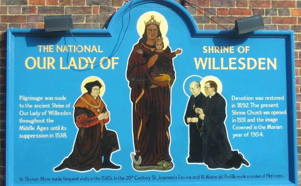 Cardinal Nichols blesses painting of Our Lady of Willesden with St Thomas More, St Josemaría Escrivá and Bl Alvaro del Portillo