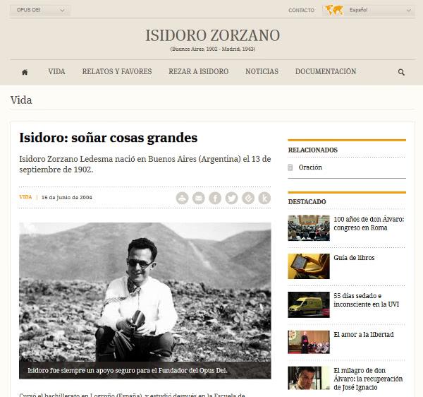 El website dedicado a Isidoro Zorzano