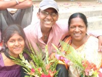 Ashish with his sister and mother