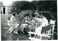 A moment relaxing in the garden where St Josemaria stayed during August in 1959. The photo includes (L to R) Ester Toranzo, Kathleen Purcell, Anna Barrett and Lena Fernandez. Kathleen and Anna are both from Ireland. Kathleen went to begin Opus Dei in Japan the following year.
