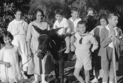 Álvaro está apoiado no burro.