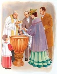Ilustración del libro Historia de un Sí que representa el Bautizo de san Josemaría.