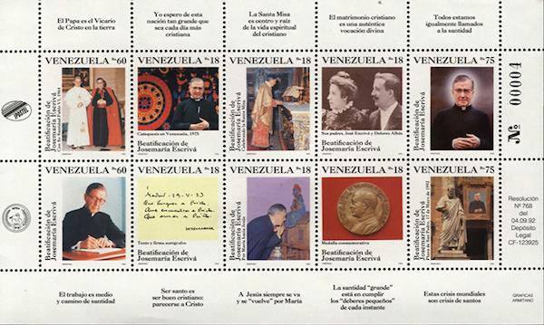 Opus Dei - Serie filatélica rinde homenaje a Josemaría Escrivá