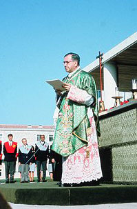 St. Josemaria giving the homily 'Passionately Loving the World' at the University of Navarra, 1967.