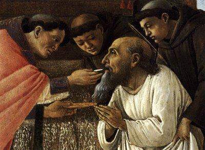 De heilige Hiëronymus ontvangt zijn laatste Heilige Communie (detail schilderij Sandro Botticelli).