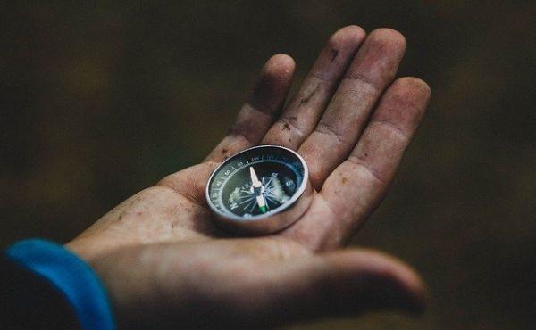 Nur mit einem Kompass im Wald unterwegs