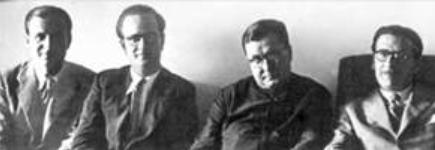 St. Josemaria with the first three faithful of Opus Dei to be ordained priests in 1944 (Joseph Muzquiz, Jose Maria Hernandez Garnica and Alvaro del Portillo).
