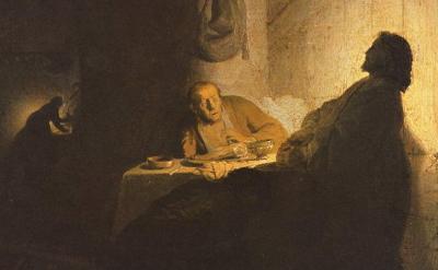 Emmaus, di Rembrandt.