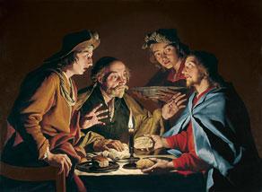 El sopar d'Emmaús, de Matthias Stom, es troba al Museu Thyssen-Bornemisza.