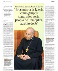 Entrevista a Mons. Echevarría en El Mercurio (Chile)
