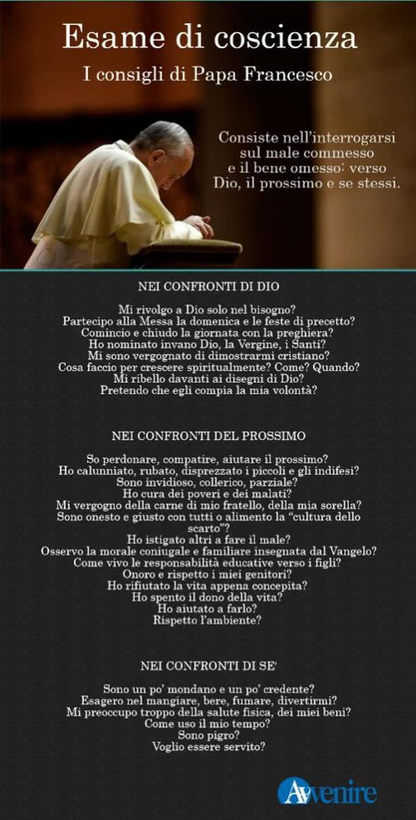 L'esame di coscienza suggerito da Papa Francesco
