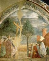 Heraclio (figura dañada en el centro) porta la cruz hacia Jerusalén ante la mirada de los persas.