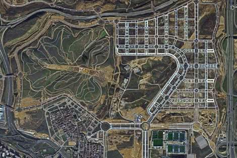 Vista aérea del área de Valdebebas.