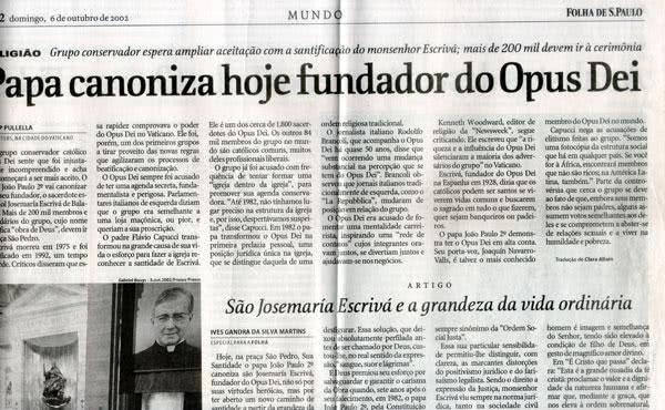 Opus Dei - Reflexões sobre o eco da canonização de Josemaria Escrivá na opinião pública internacional