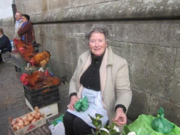 Pollos, frutas y verduras
