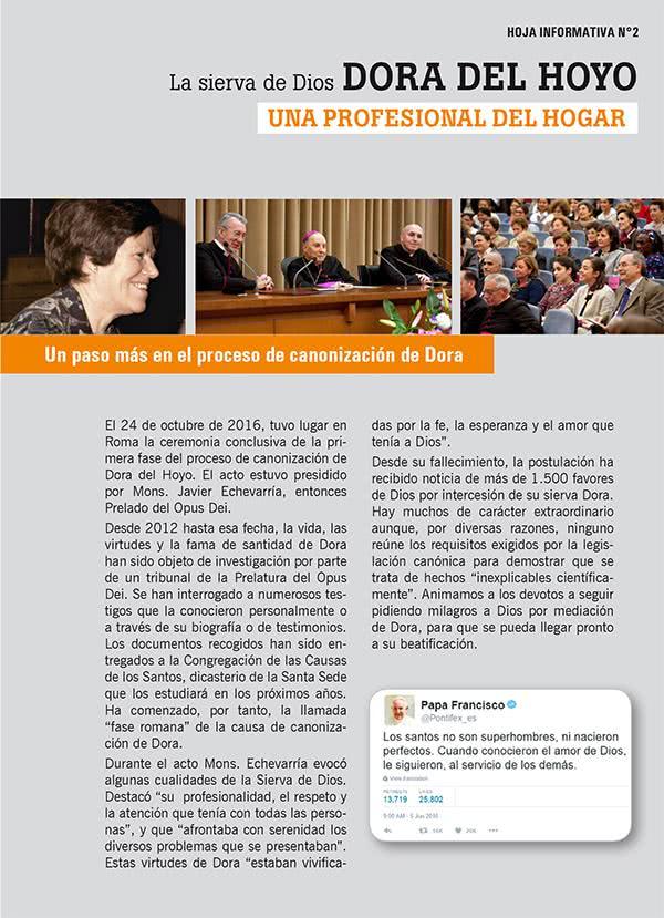 Opus Dei - Una nueva hoja informativa sobre Dora del Hoyo